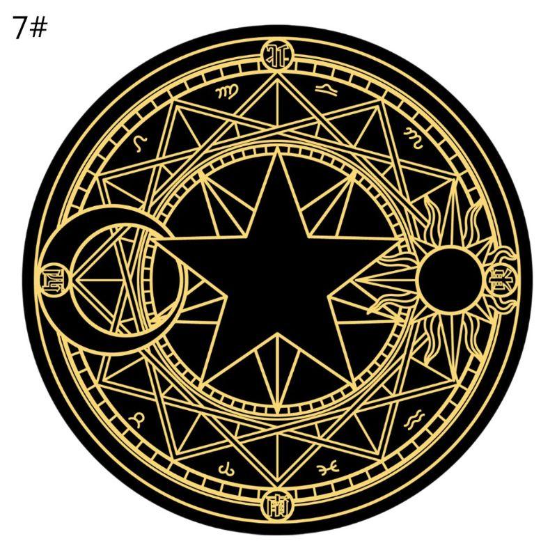 Diameter 60cm Cartoon Rug Round Tarot Tablecloth Pentagram Sun Moon Divination Party Board Game Table Pad