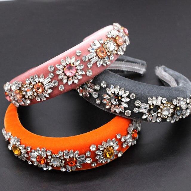 Diadema barroca de terciopelo con diamantes de imitación, diadema de lujo con personalidad de bola, diadema de Boutique con diamantes de imitación 790