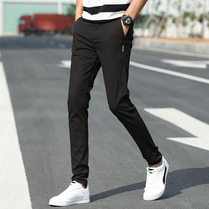 Casual 2020 Men Long Pants Cotton Slim Pant Fashion Business Solid Black Pants Men