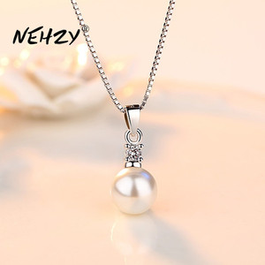 NEHZY 925 sterling silver new ladies fashion jewelry high quality crystal zircon pearl round pendant necklace length 45CM