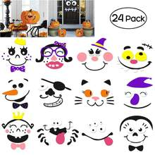 Unomor 2 Sets Halloween Pumpkin Faces Decoration EVA 12-Design Face Expression Pumpkin DIY Stickers for Happy Halloween(China)