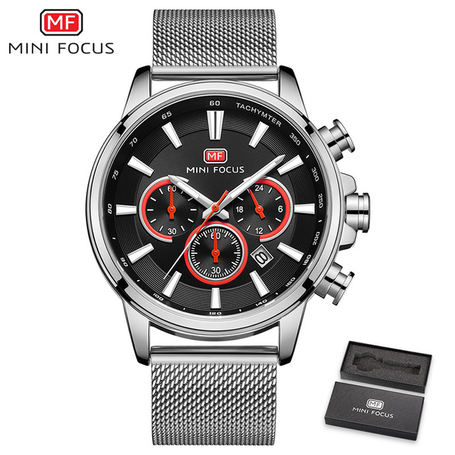 MINI FOCUS Men Watches Fashion Waterproof Sports Men Watch Stainless Steel Mesh Belt Military Men Quartz Watch Relogio Masculino | Fotoflaco.net
