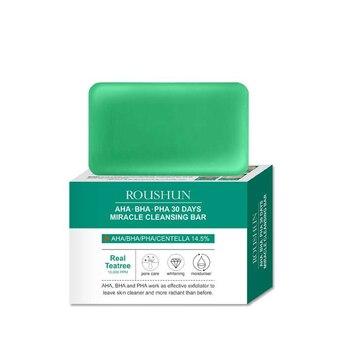 AHA BHA PHA 30 Days Miracle Teatree Facial Soap 105g Cleansing Bar Acne Treatment Blackhead Remover Dead Skin Facial Cleanser