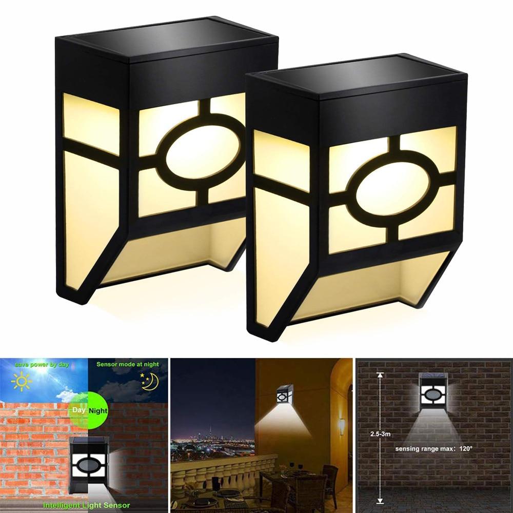 Set Of 2 Solar Powered 3 LED Gutter Fence Door Wall Lights Outdoor Garden Lamp