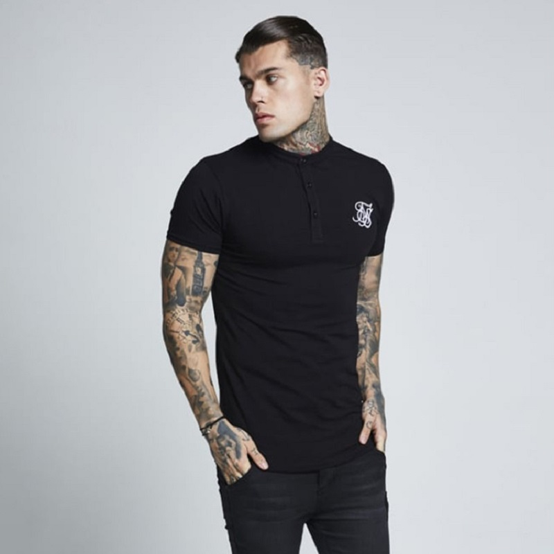 2020 T-Shirt Men Spring Cotton Sik Silk T Shirt Men Solid Color Tshirt  Short Sleeve Siksilk Top Men Brand Tee Shirts