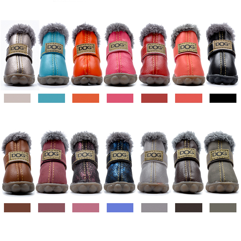 4 Pcs/set Pet Dog Shoes Winter Warm Snow Dog Boots Anti Slip Waterproof PU Leather Snow Boots For Small Pet Puppy Cat ChiHuaHua