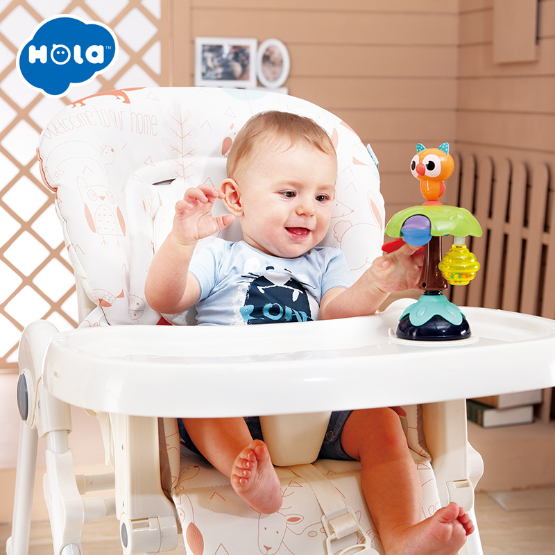 HOLA 3150B 2-in-1 Suction Cup High Chair Toy For Babies 0-12 Months Silicone Baby Rattle Toys For Toddlers Educational Kids Toys