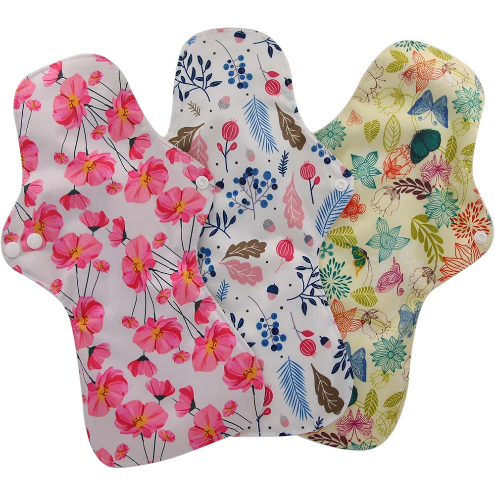 Organic Bamboo Washable Hygiene Sleep Mama Menstrual Pads Heavy Flow Sanitary Pads Lady Napkin Cloth Pad Reusable Pads 3PCS/PACK