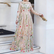 Fashion Women Plus Size Abaya Jilbab Muslim Maxi Dress 3D Foral Beletd High Waist Kaftan Long Dress Islamic Clothings S 2XL