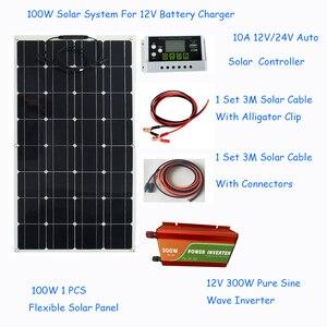 Image 2 - ソーラーパネル100ワットソーラーパネルシステムキット柔軟なソーラーパネル1 * 10Aソーラーコントローラ1セット3メートルケーブルは中国製rv/ボート