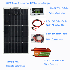 Image 2 - Solar panel 100W Solar Panel System Kits flexible solar panel 1*10A solar controller 1 set 3M cable made in China for RV/boat