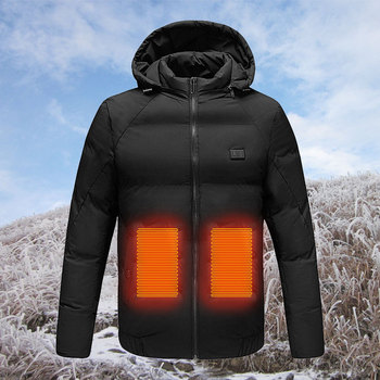 Heated Jackets Fashion Men Women Electric Heated Jacket USB Electric Heating Hooded Jackets Warm Winter Thermal Coat