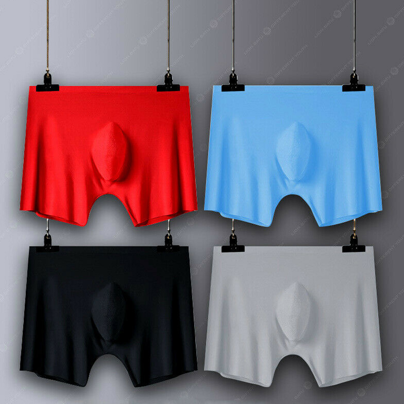2020 Men Ice Silk Seamless Sexy Boxer Pouch Sleepwear Underwear Pants Shorts Bulge Panties Underpant