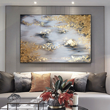 Big size Handmade thick knife abstract oil painting Gold Gray White gorgeous Painting home Decor Oil on Canvas
