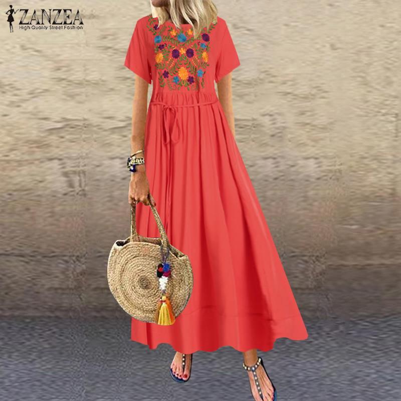 ZANZEA Women Maxi Long Dress Plus Size Summer Dresses 2020 Short Sleeve Casual Loose Embroidery Floral Party Vestidos Robe Femme