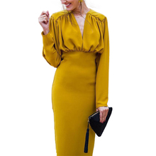 Plus Size Vintage Long Sleeve Dress Winter Dresses Women Solid V-Neck Full Elegant Dress Female Sexy Dresses Party Night Club цена и фото