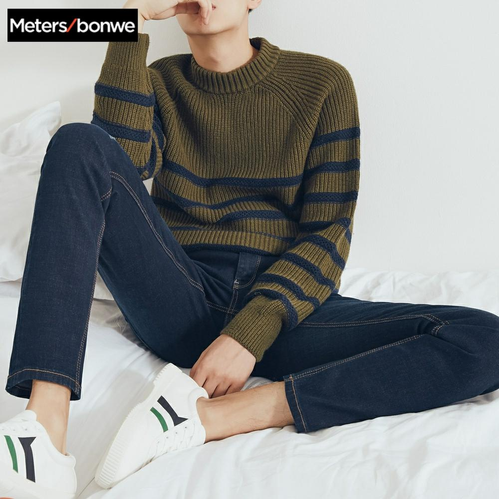Metersbonwe Straight Jeans Men 2019 Casual Jeans Autumn New Casual Youth Hole Design Trend Slim Jeans Mens Pants Male Trousers