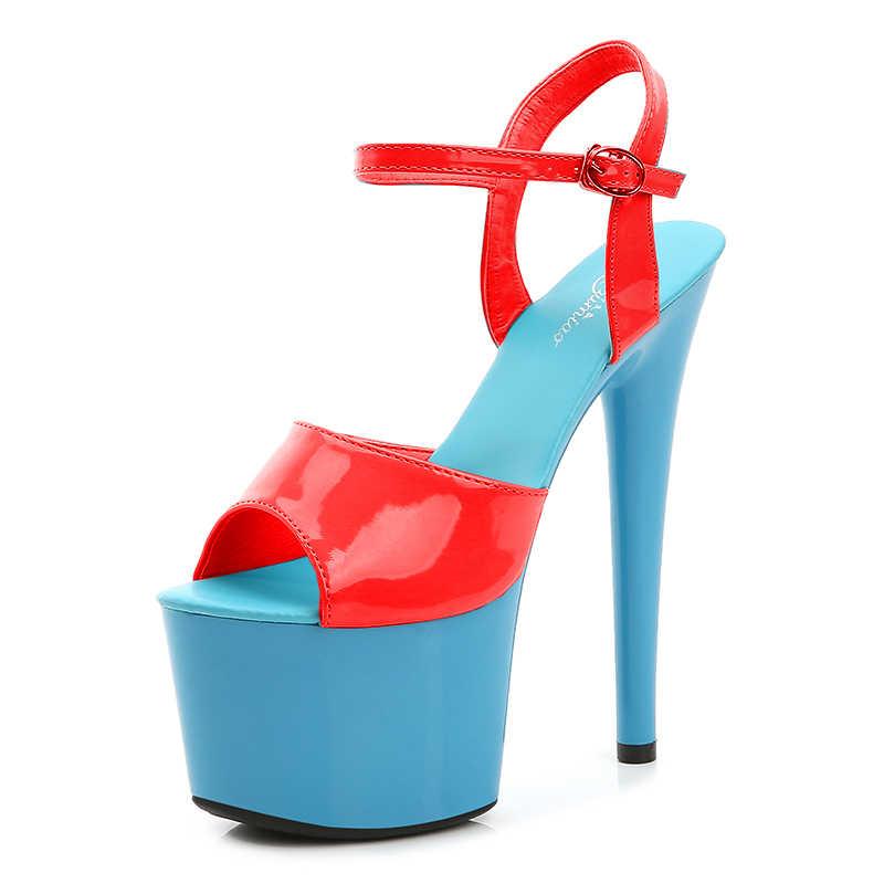 Stripper Heels Wanita Sepatu Musim Panas 2020 Platform Sepatu Hak Tinggi Sandal Tipis Bertumit 20 Cm Warna Campuran Seksi Tahan Air Pernikahan sepatu