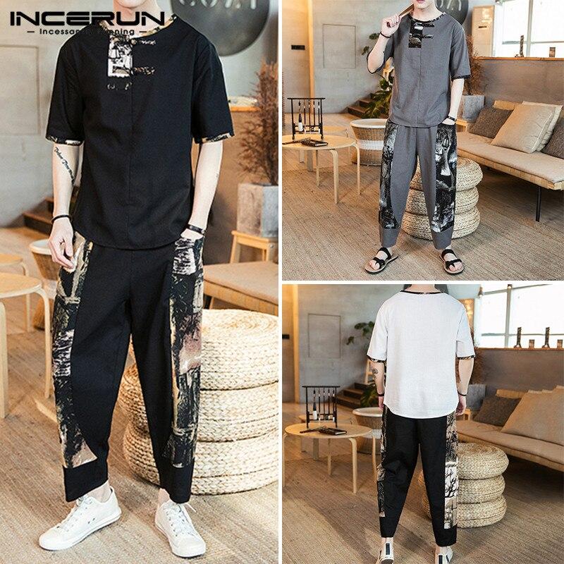 Chinese Style Printed Men Sets Streetwear Short Sleeve Casual Shirt Elastic Waist Pockets Pants Vintage Loose Men Set INCERUN 7