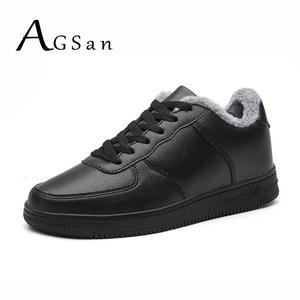AGSan Winter Men Casual Shoes Lace Up Fashion Sneakers Plush Shoes Big Size 48 47 Mens Trainers Shoes Outdoor Flats Black White