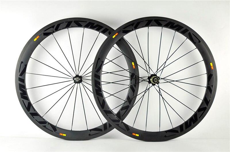 Cosmic SLR 50mm Carbon Räder Rennrad Laufradsatz Fahrrad 700C Klammer Tubular 23mm Breite Glänzend Aufkleber Twill Matte felge Bremse