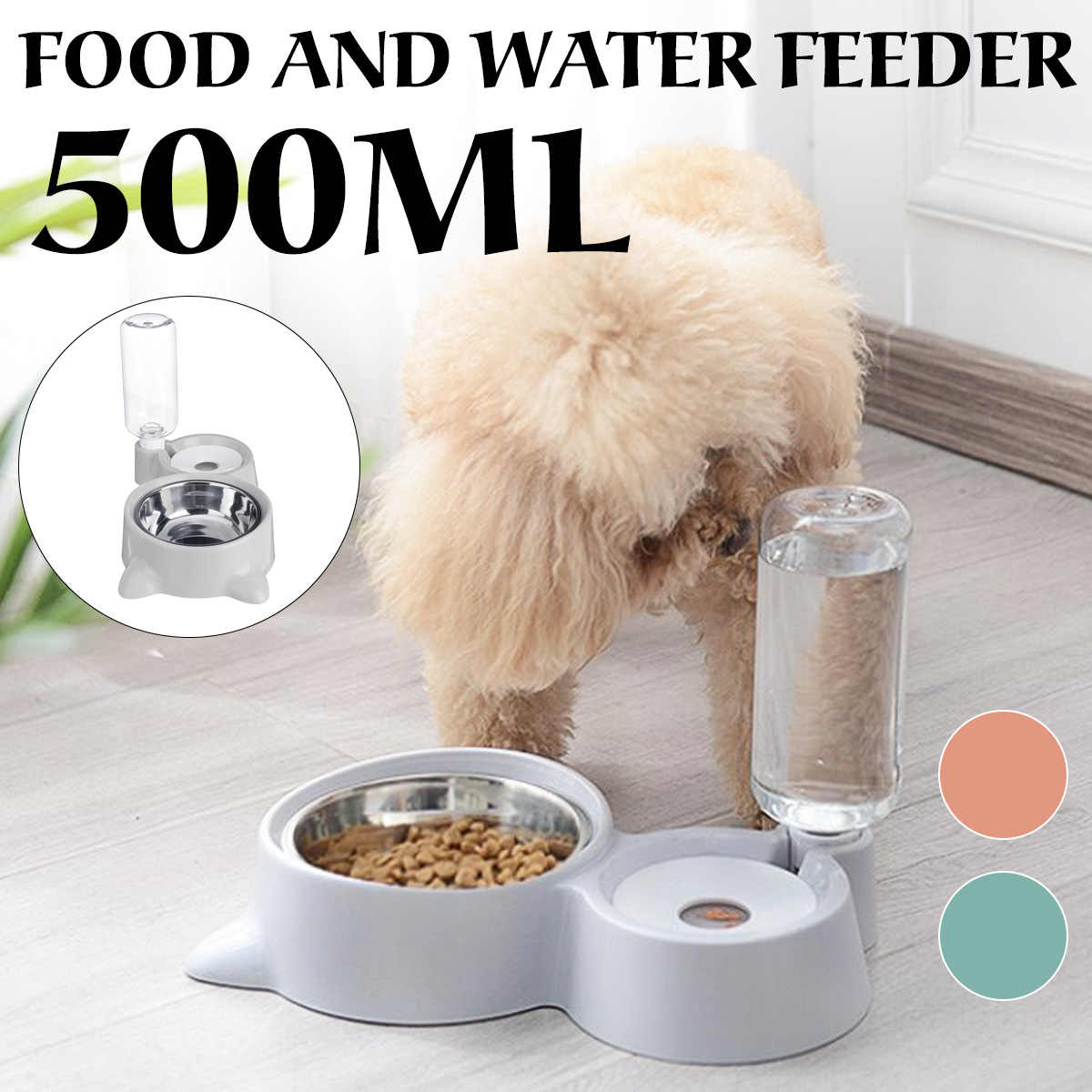 자동 애완 동물 식품 공급기 고양이 개를위한 식수 분수 500 ml 대용량 애완 동물 물 술꾼 고양이 개 먹이 그릇