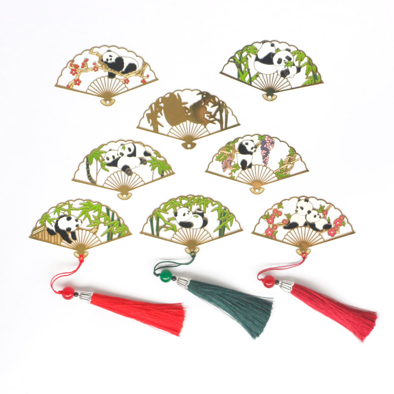 Bookmark Chinese-style Literature And Art Retro Metal Folding Fan Antique Style Panda Bookmark Classical Creative Students Teach