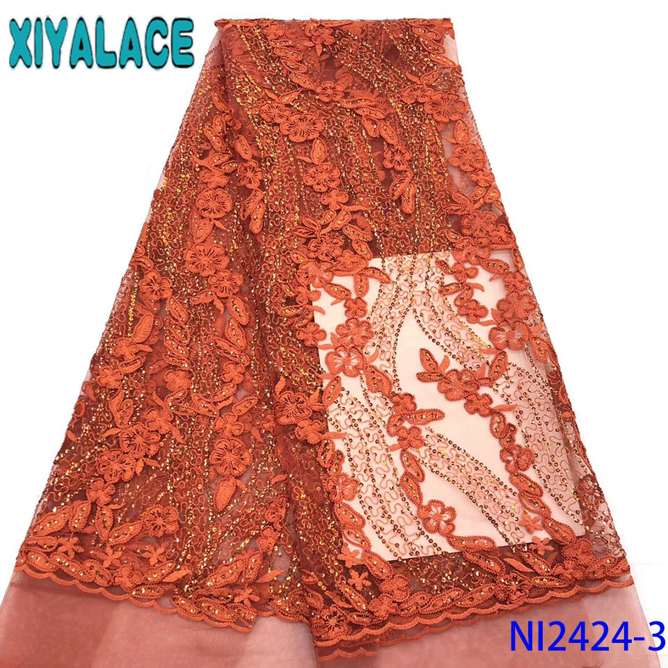 Burnt Orange Lace Nigerian Lace Fabric 2019 High Quality Lace African Tulle Laces With Sequins For Women KSNI2424