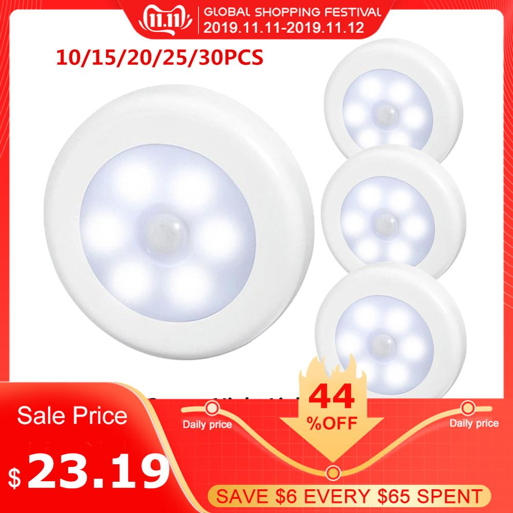 30pcs Infrared PIR Motion Sensor 6 Led Night Light Wireless Detector Light Wall Lamp Auto On/Off Closet Night Lamps