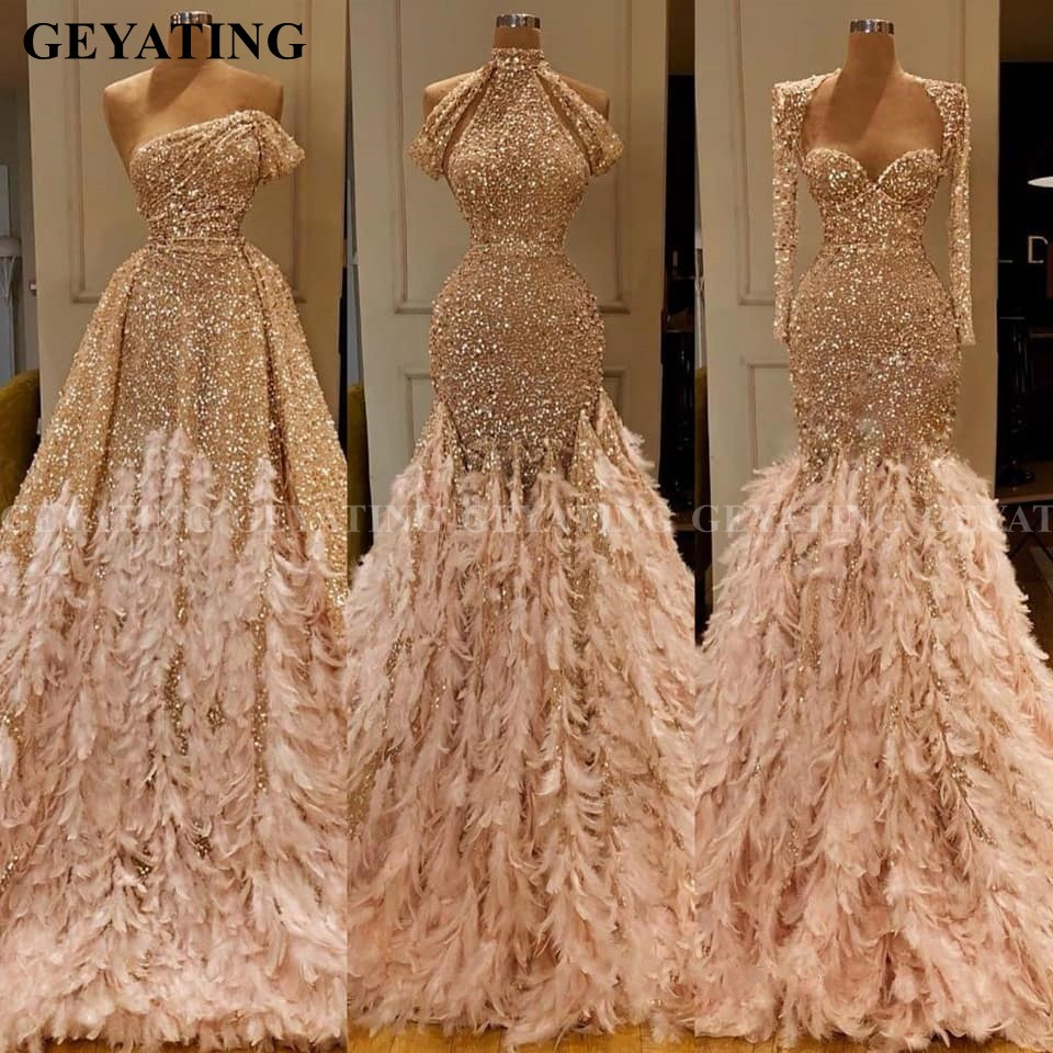 Glitter Gold Sequin Mermaid Feather African Prom Dresses Long Sleeve One Shoulder Evening Gown Plus Size Graduation Formal Dress
