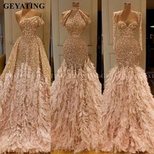 Glitter Gold Sequin Mermaid Feather Afrikaanse Prom Dresses Lange Mouwen Een Schouder Avondjurk Plus Size Afstuderen Formele Kleding(China)