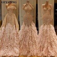 Glitter altın pullu Mermaid tüy afrika balo kıyafetleri uzun kollu bir omuz gece elbisesi artı boyutu mezuniyet resmi elbise