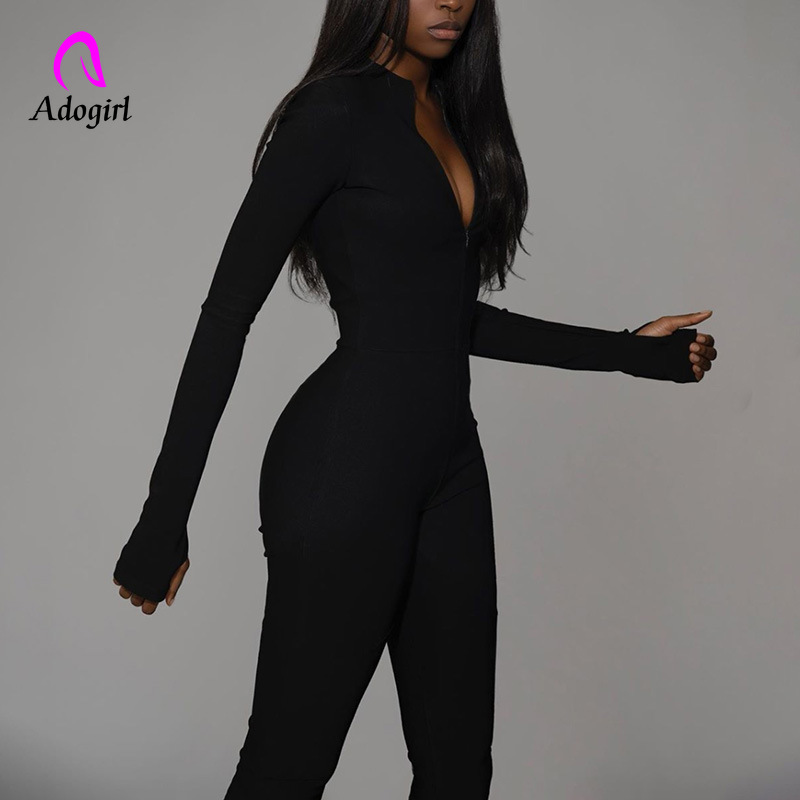 Turtleneck Women 2019 Winter Fitness Jumpsuit Zipper Up Casual Sportings Jumpsuits Women Long Sleeve Elasticity Skinny Rompers
