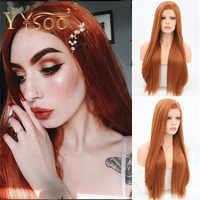 YYsoo largo naranja marrón seda recta sintética 13x4 pelucas frontales de encaje sin pegamento Pre desplumado línea de pelo resistente al calor Peluca de fibra