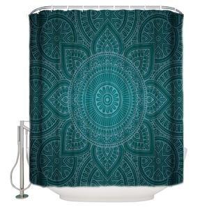 Mandala Flower Pattern Printed Custom Shower Curtains Waterproof and Mildewproof Polyester Fabric Bath Curtain with Hooks-