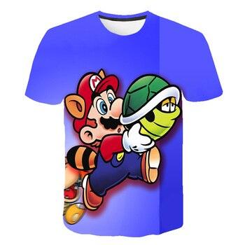 цена Summer Kid Harajuku style Classic Games Super Mario t shirt Boy Girl Mario Bros 3D Print T-shirts Children Fashion T shirt Tops онлайн в 2017 году