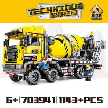703941 City vehicle Moc Engineering Bulldozer Crane Technic Car Truck Excavator Roller Building Blocks Bricks Construction Toys