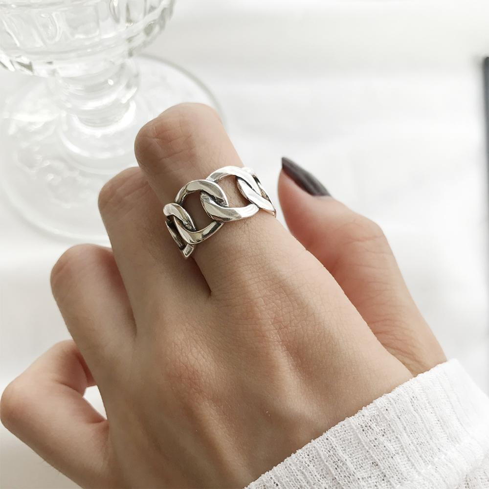 Kinel S925 Sterling Silver Jewelry An Simple Opening  Female Personality Wide Chain Square Ring Couple Rings Geometric Ring