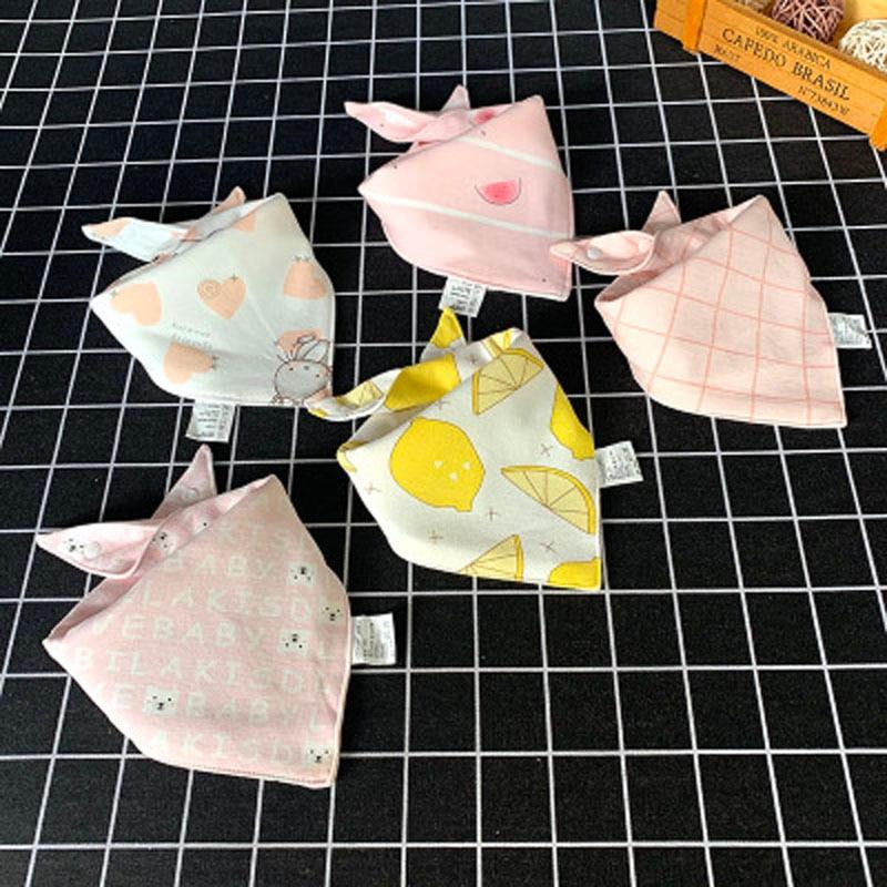 5 Pcs/Lot Baby Bandana Bibs Scarf Burp Cloths Saliva For Newborn Infant Toddler Boys Girls Kids Cartoon Triangle Cotton Bib