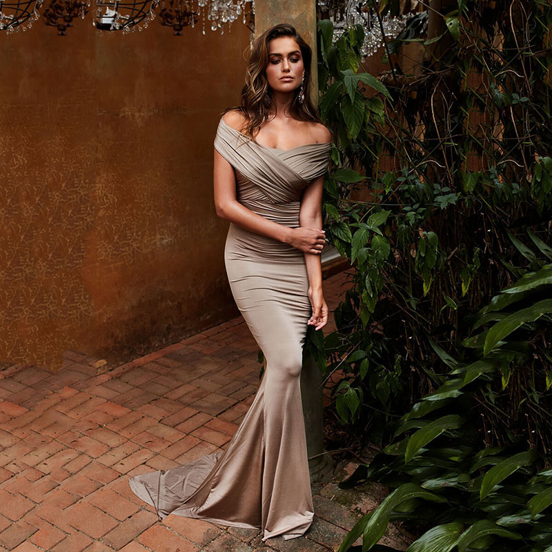 Vestido De Noiva 2020 Off the Shoulder Long Evening Dresses Pleats Women Mermaid Formal Party Gowns abiye gece elbisesi