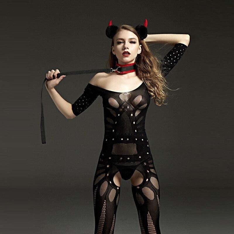 Esneklik delik kadın seks açık Crotch giyisi Bodystockings seksi Fishnet Mesh erotik Babydoll Teddy Bodysuit Lingerie Femme