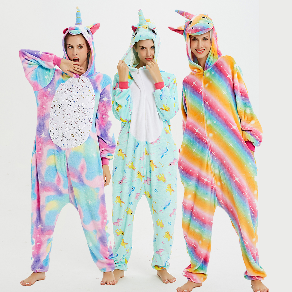 Galaxy Unicorn Kigurumis Sleepwear Adult Onesies Homewear Women Cosplay Jumpsuit Party Costume Unisex Onepiece Clothing