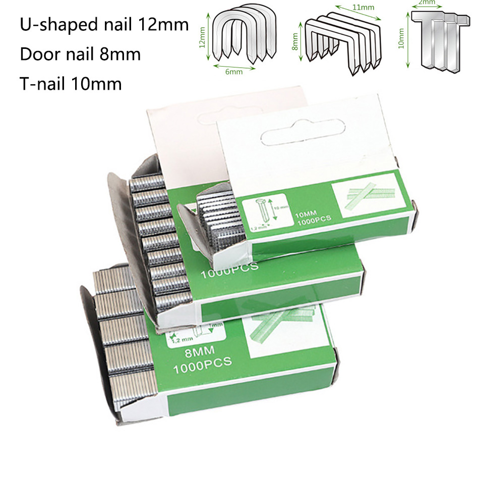 1000pcs U Nail T Nail Door Nail Staples Door Shaped Staples Manual Nail Stapler Staple Gun For Wood Furniture Household Use Nail