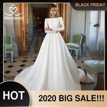 Vestido de casamento de cetim de manga longa swanskirt vintage sem costas princesa a linha tribunal trem noiva botão crescido i195