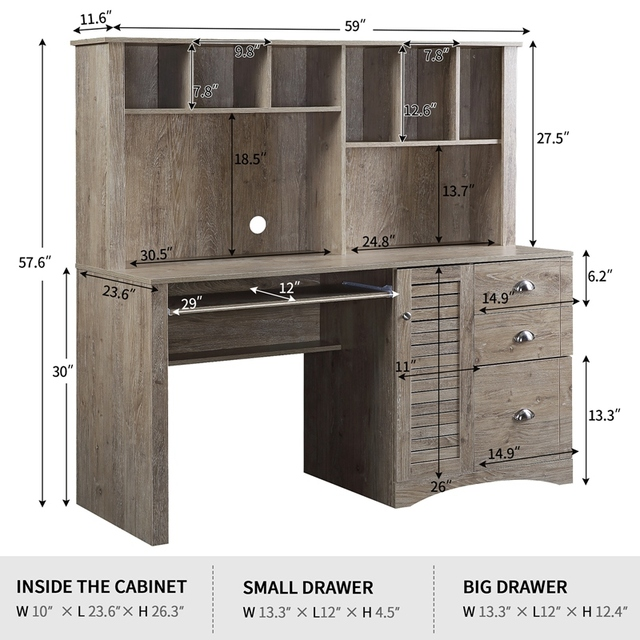 Home Office Computer Desk with Hutch and Drawers 2