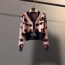T-shirt rétro imprimé léopard ins pour femmes, cardigan de style occidental, col en v, coupe slim, taille haute courte, collection automne-hiver 2020