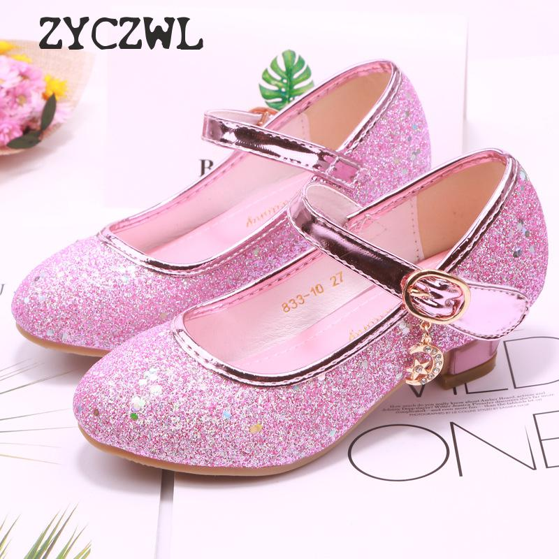 Children Princess Shoes Student Dance Shoes For Girls High Heel Sandals Dress Purple Kids Leather Glitter Crystal Shoes Banquet