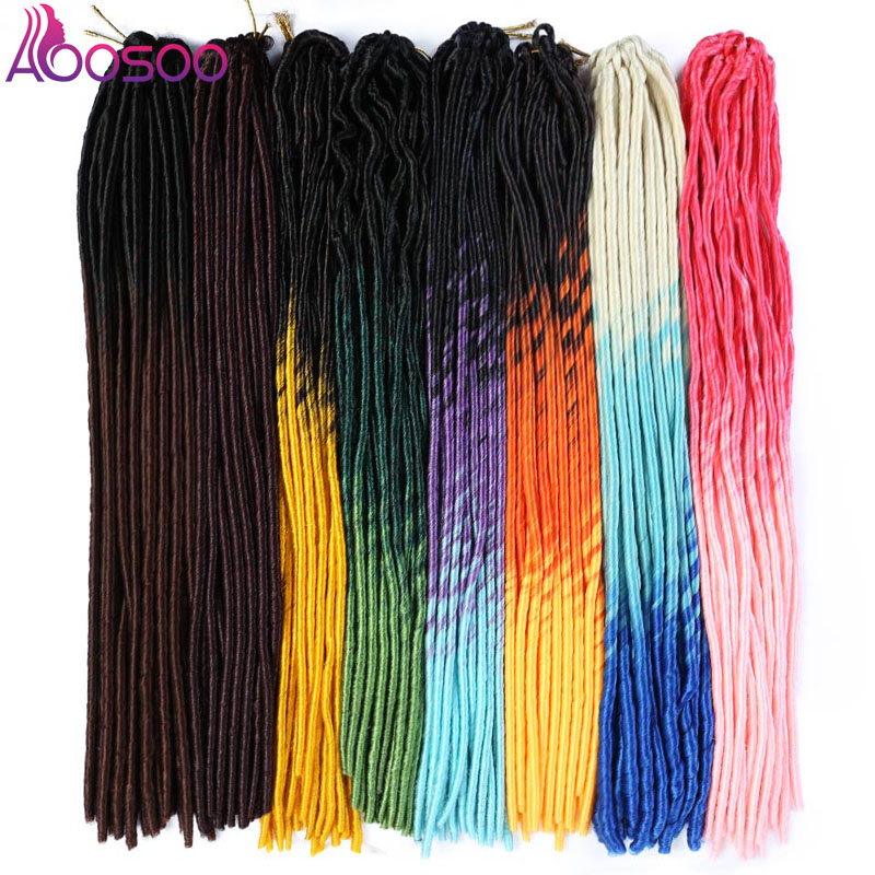 AOOSOO Faux Locs  20inch Braiding Ombre Faux Locs Straight Curly 20inch 24roots Soft Crochet Braids Dread Bohemian 20Strands 1PC