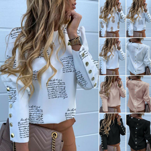 2020 Work Wear Women Blouses Long Sleeve Back Metal Buttons Shirt Casual O Neck Printed Plus Size Tops Fall Blouse Drop Shipping 2
