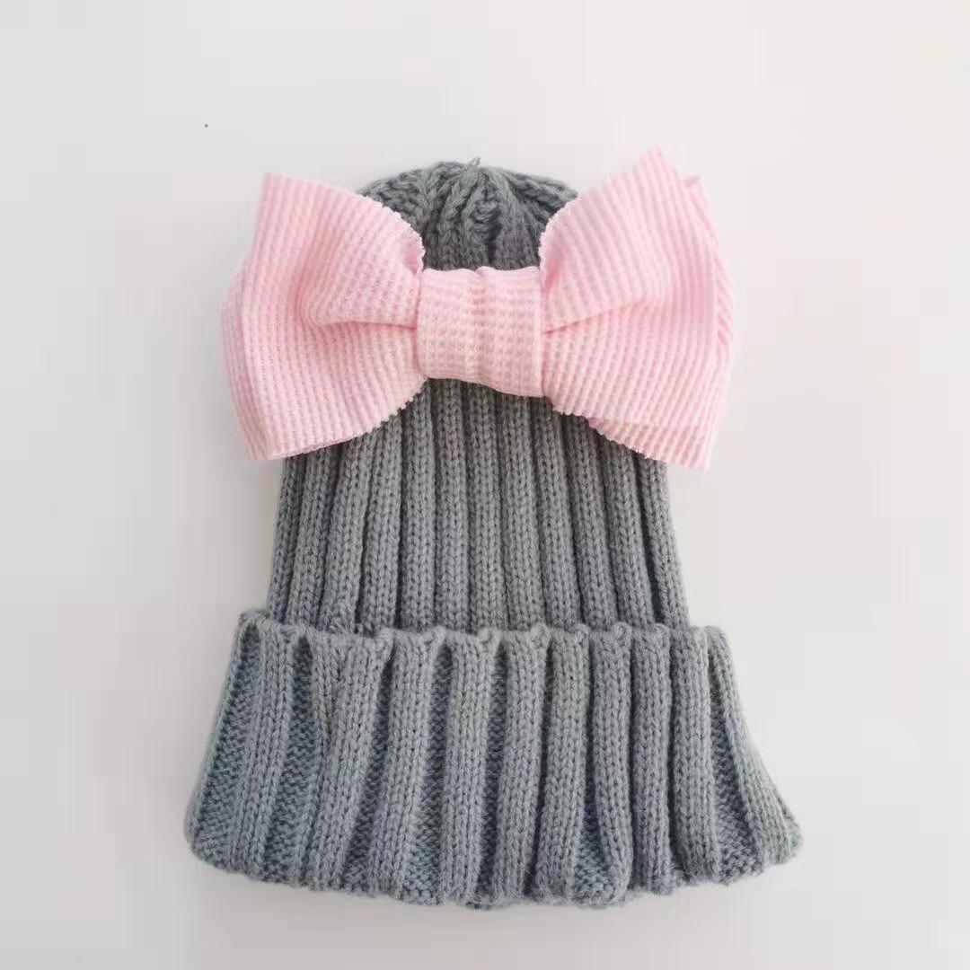 >baby toddler hat warm cap striped with check corn bow tie for girls Butterfly Knot Melamed toddler winter hat <font><b>champion</b></font> <font><b>outfit</b></font>